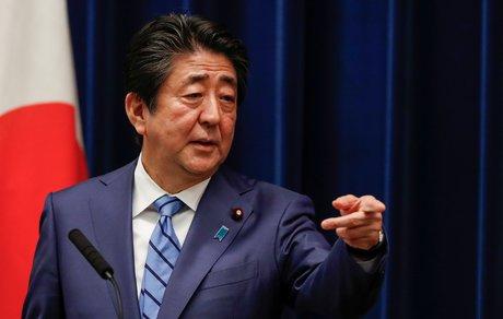 Le premier ministre japonais Shinzo Abe, lors d'une conférence de presse, le 14 mars 2020