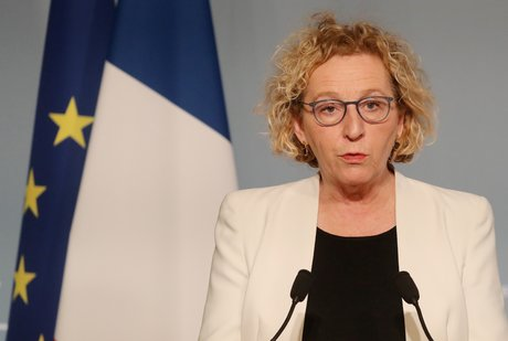 La ministre du Travail Muriel Pénicaud, lors d'un point presse dédié à la crise du coronavirus, le 1er avril 2020 au palais de l'Elysée