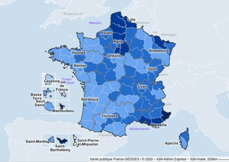 La carte des taux d'incidence du virus Covid-19
