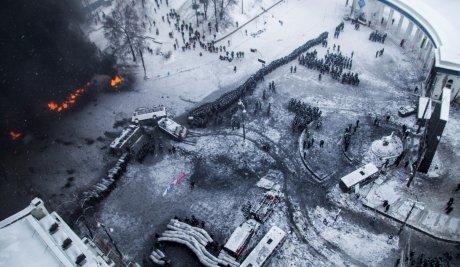 Une vue des manifestations en Ukraine, le 22 janvier 2014.