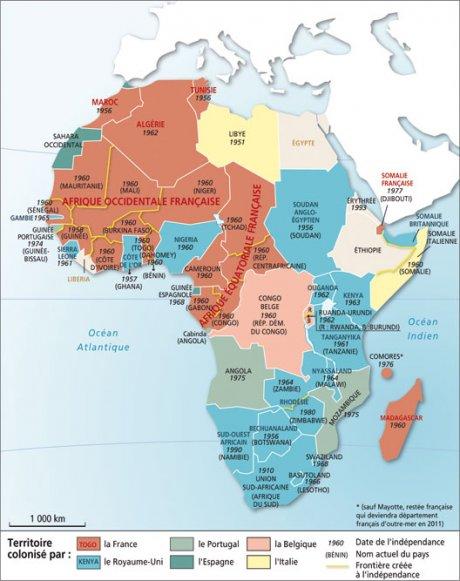 La carte des décolonisations par date, en Afrique.