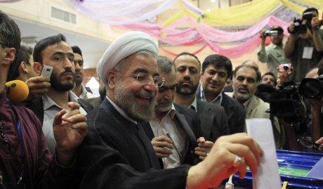 Hassan Rohani le jour de son élection à la tête de l'Iran, le 14 juin 2013.