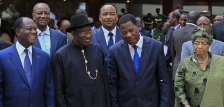 Ivory Coast's President Alassane Ouattara (L), Nigeria's President Goodluck Jonathan (2nd L), Benin's President Thomas Yayi Boni and Liberia President Ellen Johnson Sirleaf (R) are pictured at the 43rd Economic Community of West African States (ECOWAS) meeting in Abuja July 17, 2013