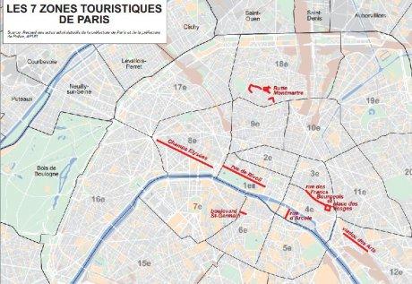 Zones touristiques à Paris