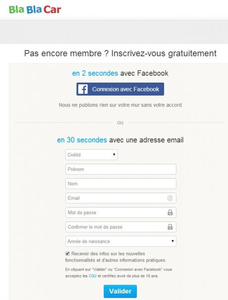 Blablacar inscription