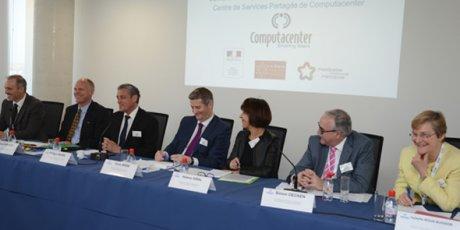 Computacenter, centre de services de Montpellier, conférence de presse le 9 avril 2015.
