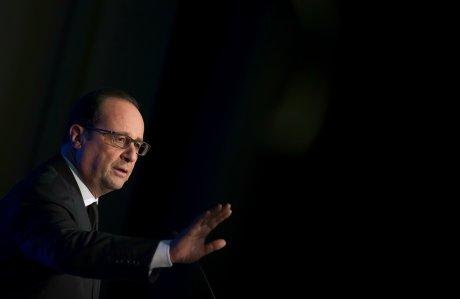 François Hollande le 7 mai 2015 à la Maison de la Chimie à Paris
