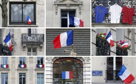 Paris, Hommage, 2015.11.27, 130 victimes, attentats de Paris, rues pavoisées, drapeau français,