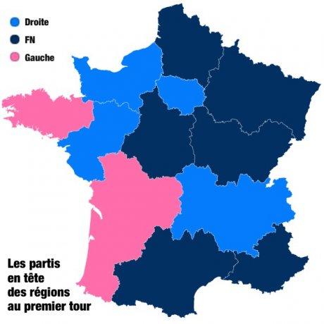 Carte résultats 1er tour régionales 2015