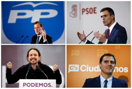 Mariano Rajoy, Pedro Sanchez, Pablo Iglesias, Albert Rivera, élections, Espagne,