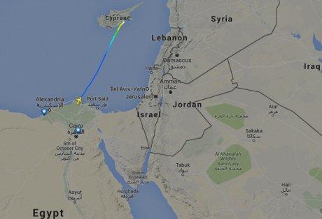 Trajectoire du vol MS181 d'EgyptAir le 29 mars 2016