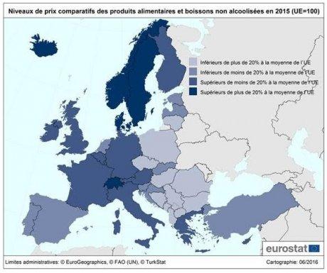 Variation des prix alimentaires dans l'UE en 2015