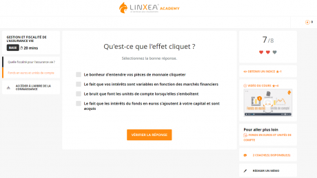 Capture d'écran Linxea Academy Cliquet