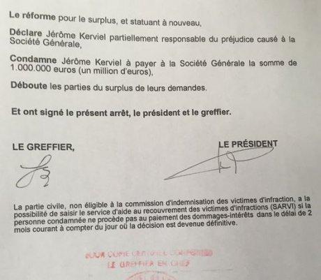 Arrêt cour appel Versailles Kerviel