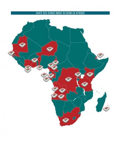 Carte des stades chinois en afrique
