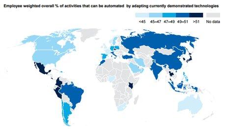La proportion des emplois susceptibles de disparaître sur le total des activités à cause de de l'automatisation en adaptant les technologies actuelle