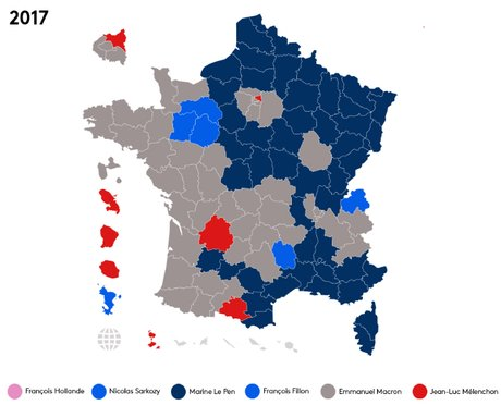 Carte des résultats du premier tour de la présidentielle 2017 par franceinfo