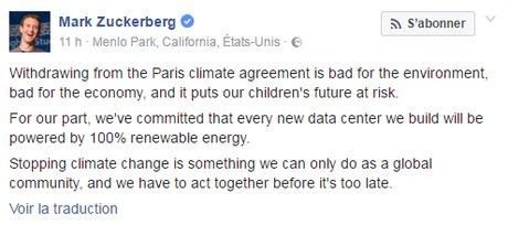 La réaction du patron de Facebook à la sortie de l'accord de Paris