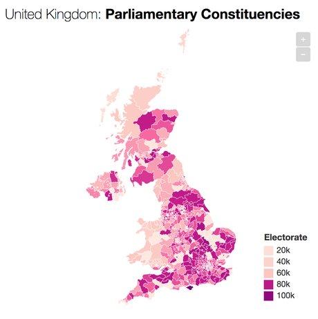 Carte des circonscriptions parlementaires au Royaume-Uni