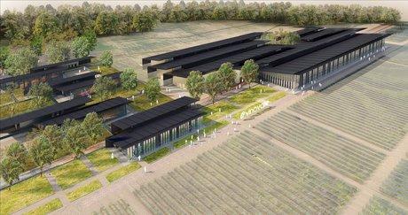 Image de synthèse du futur bâtiment de la coopérative vinicole Vinovalie
