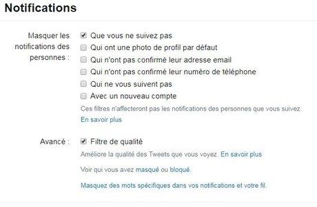 Twitter : masquez (presque) toutes les notifications indésirables