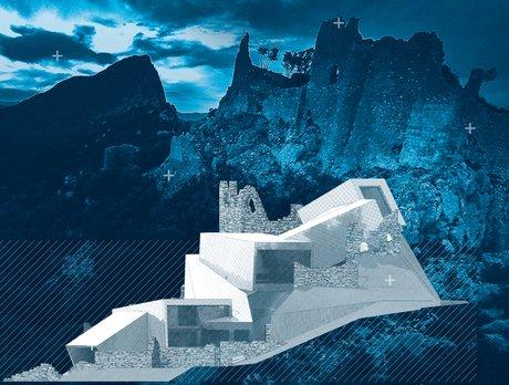 Une vue d'artiste (Christophe Meier), juxtaposant le château et une version possible du projet de valorisation du site