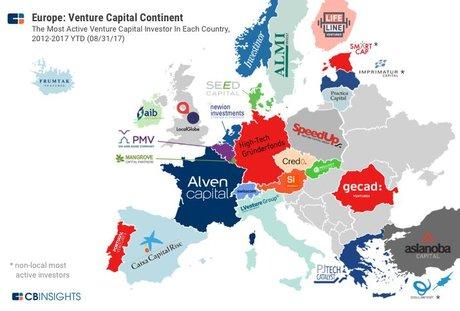 carte VC Europe, capital-risque, Alven Capital, SpeedUp, fonds d'investissement, startups, CB Insights