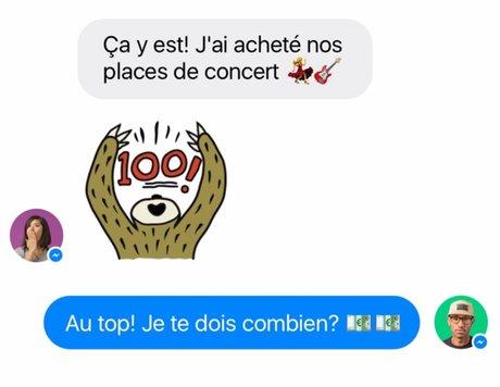 Messenger icônes emojis paiement