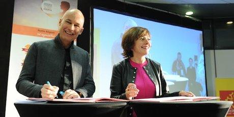 Bertrand Piccard et Carole Delga, le 12 décembre 2017 sur Energaïa à Montpellier