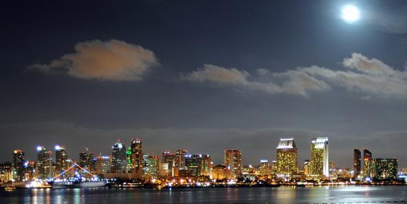 La skyline de la ville de San Diego, à l'extrême sud-ouest des États-Unis. 80%  de son approvisionnement en eau vient de l'extérieur du comté.