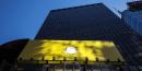 Le logo de l'application de messagerie éphémère Snapchat, publicité à New York