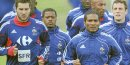 France's (L-R) Andre-Pierre Gignac, Patrice Evra, Florent Malouda and Sebastien Squillaci run during a training session at the Fields of Dreams stadium in Knysna on June 8, 2010 ahead of the start of the 2010 World Cup football tournament in South Africa. AFP PHOTO / FRANCK FIFE