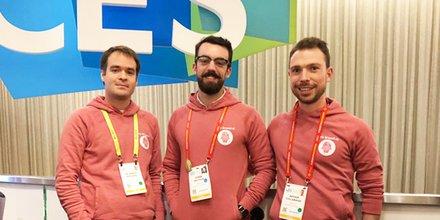 L'équipe de Wefight (Montpellier), inventeur du compagnon virtuel Vik, au CES 2019,