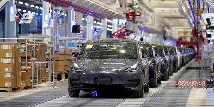 H319 Des Tesla électriques Model 3 produites dans l'usine chinoise du constructeur américain, à Shanghai, inaugurée début janvier.