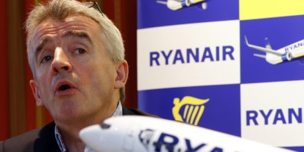 Le patron de Ryanair Michael O'Leary lors d'une conférence de presse, le 22 janvier 2014.