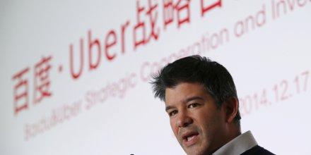 Le président CEO d'Uber Travis Kalanick lors d'une conférence en Chine avec Baidu