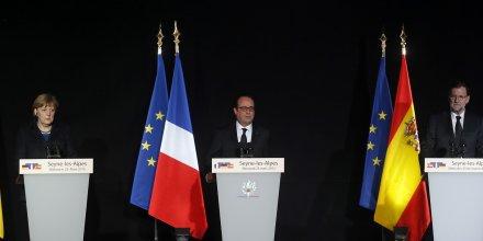 Crash conférence Hollande Merkel Rajoy Après s'être rendus sur les lieux du drame, ce mercredi 25 mars 2015, Angela Merkel, François Hollande et Mariano Rajoy se sont réunis pour une conférence à Seyne-les-Alpes.