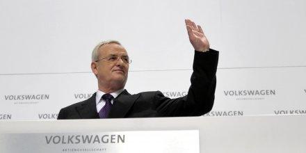 Le futur ex patron de Volkswagen Martin Winterkorn ici en mars 2010 lors d'une conférence à Berlin