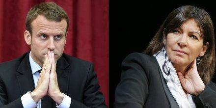 Montage du ministre de l'Économie Emmanuel Macron et la maire de Paris Anne Hidalgo