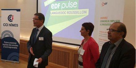 Jean-Guy Majourel (à gauche), délégué régional d'EDF, a présenté le concours Pulse accompagné de sa directrice de cabinet et d'Henry Douais, président de la CCI de Nîmes