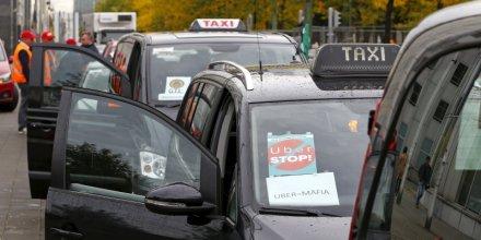 Manifestation de taxis europeens contre uber a bruxelles