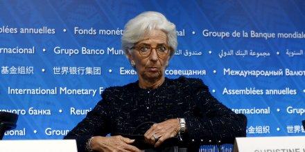 La directrice générale du FMI Christine Lagarde lors d'une rencontre avec la Banque mondiale à Lima en octobre 2015