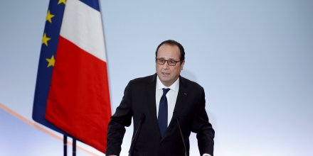 Le président de la République François Hollande lors de ses voeux aux acteurs de l'entreprise et de l'emploi le 18 janvier 2016