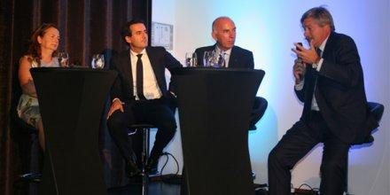 de gauche à droite : Martine Diss, (COSME), Aubain Bonnet (Fonds Européen d'Investissement), Daniel Goupillat, (Fédération nationale des SOCAMA) et Pierre Chauvois (Banque Populaire du Sud).