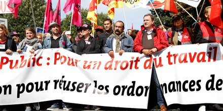 Manifestation contre la réforme du Code du Travail organisée par la CGT à Paris le 21 septembre 2017