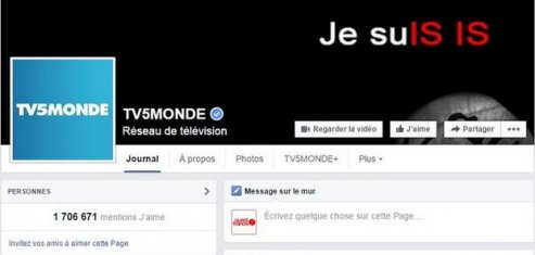 Piratage de la page Facebook de TV5 Monde avril 2015