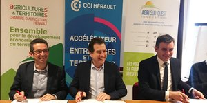 J. Despey (CA 34), A. Deljarry (CCI 34) et V. Costes (Agri Sud-Ouest Innovation)
