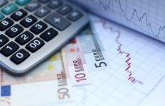 Euro, billets, courbe de croissance, graphique, calculette, argent, monnaie,