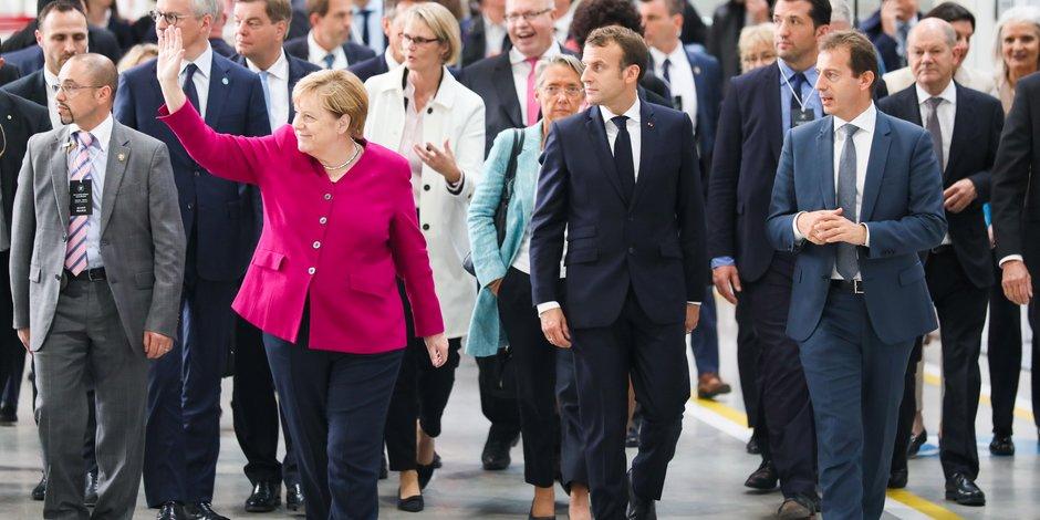 Angela Merkel et Emmanuel Macron sont arrivés en milieu de journée, à Airbus.