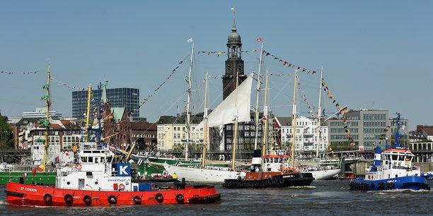 Vue du port de Hambourg.